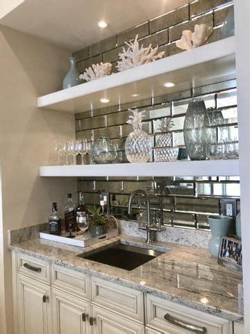 smokey quartz antique mirror subway tiles home bar