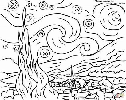 Gogh Van Coloring Vincent Study Starry Night