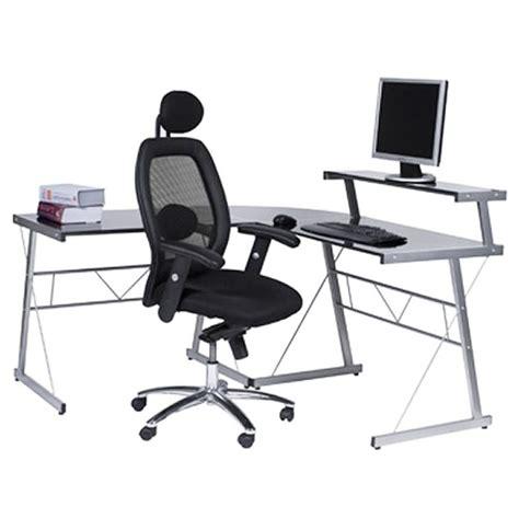bureau d angle pour ordinateur bureau d 39 angle en verre noir bureau informatique design