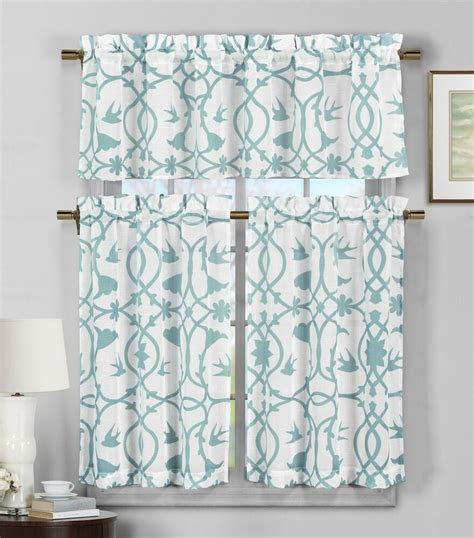 piece semi sheer window curtain set teal blue  white