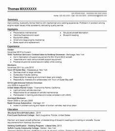 sample resume  welding position welder resume