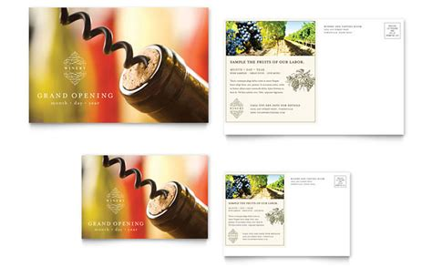 vineyard winery postcard template design