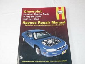 manual repair autos 2005 chevrolet monte carlo navigation system haynes repair manual chevrolet lumina monte carlo and impala fwd 1995 thru 2005 9781563926327
