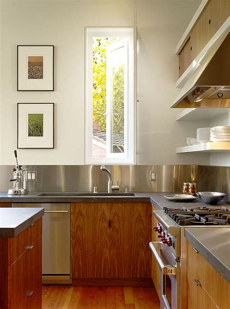 stainless kitchen backsplash kitchen design idea install a stainless steel backsplash for a sleek look contemporist