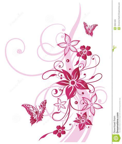 Blumenranke Grün Horizontal by Flowers Butterfly Summer Pink Stock Vector