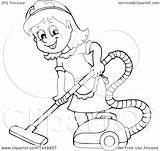Maid Clipart Cartoon Vacuuming Happy Lineart Illustration Clip Visekart Royalty Vector Background Pic Cliparts sketch template