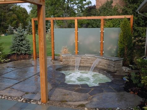 outdoor privacy screens for yards inground spa with waterfall patio and privacy screens