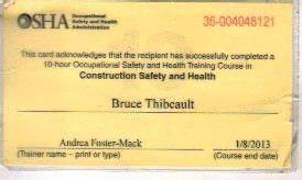 bruce thibeault painting contractors in nh With osha 10 card template