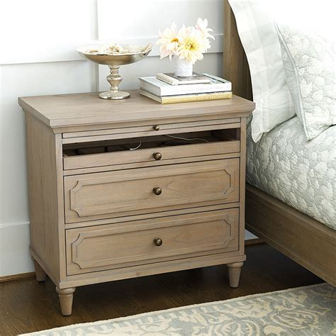 Wide White Nightstand by Large Nightstand With Charging Station Ballard