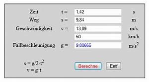 Downloadzeit Berechnen Mb S : freier fall weg zeit und geschwindigkeit berechnen ~ Themetempest.com Abrechnung
