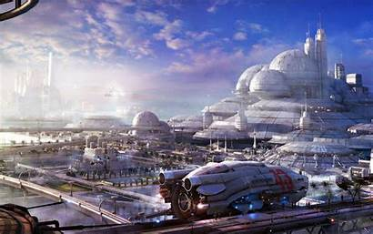 Future Space Fantasy Wallpapers Station Cities Background