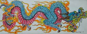 blue Japanese dragon painting by TheDarkestPassenger on ...