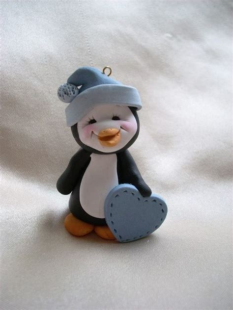 penguin sculpture ornament sculpture figurine gift polymer clay polymers ornaments