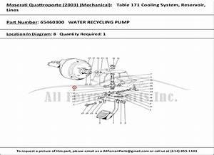 Ferrari Part 65460300 Water Recycling Pump In Maserati Qtp