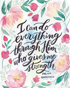 Philippians 4:13 watercolor Peonies, tulips and brush calligraphy bible verse Artworks