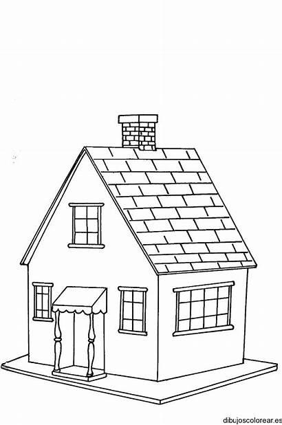 Casa Dibujo Tejas Casas Colorear Relacionados