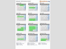 Kalender 2020 + Ferien SachsenAnhalt, Feiertage
