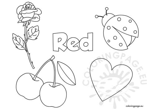 red color activity sheet coloring page