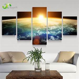 5 panel modern sunrise space universe picture painting With wall paintings for home decoration