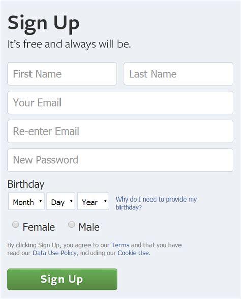 facebook registration form setup manage social media accounts