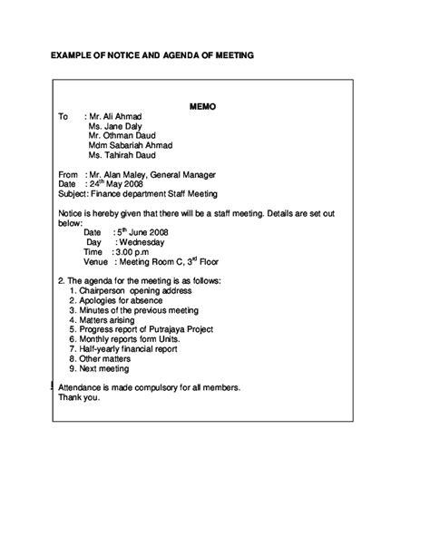 meeting agenda  notice memo mimi