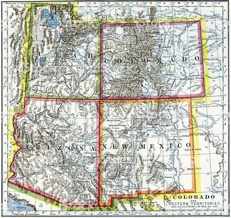Map of New Mexico Arizona and Utah