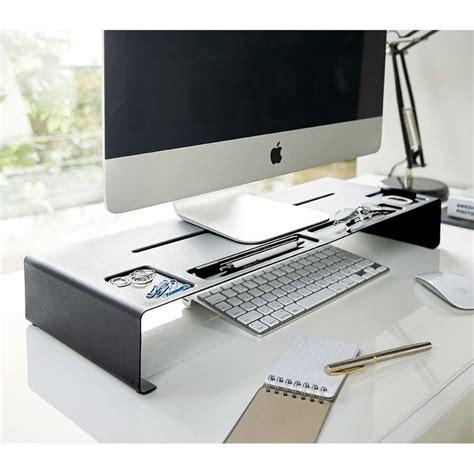bureau ecran noir réhausseur d écran organiseur de bureau monitor stand