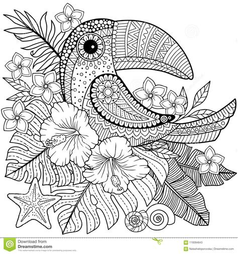 coloring book  adults toucan  tropical leaves  flowers stock vector illustration