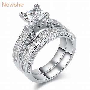 aliexpresscom buy newshe 3 ct princess cut aaa cz With buy wedding ring set