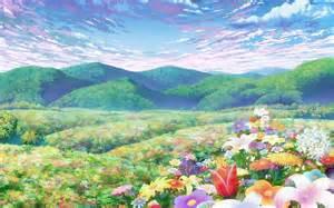 flower backdrop cielo azul nubes paisajes flores colinas verdes de anime
