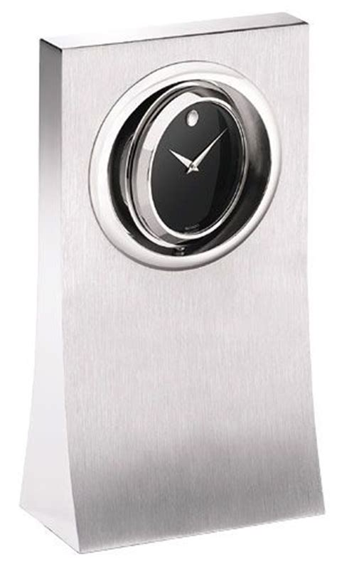 Movado Desk Clock by Movado Spinning Museum In Aluminum Stand Desk Clock
