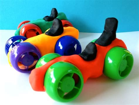 recycle craft play dough cars  child fun