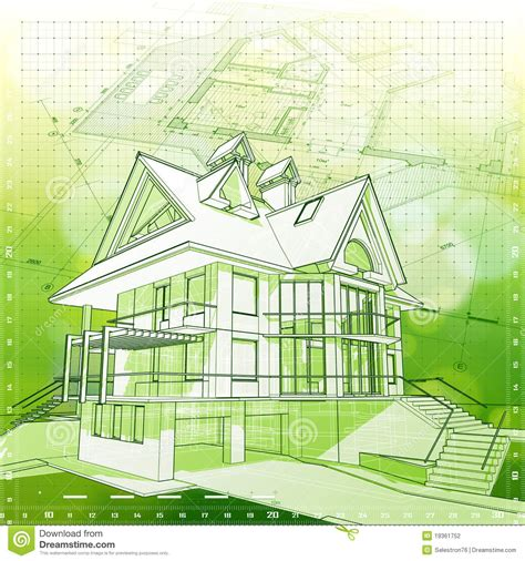 green plans house plans green background stock vector