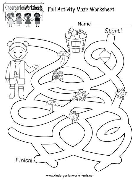 fall activity maze worksheet free kindergarten seasonal