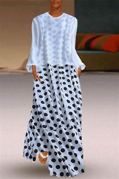 Polka Dot Sleeve Dresses Neck Round Plus