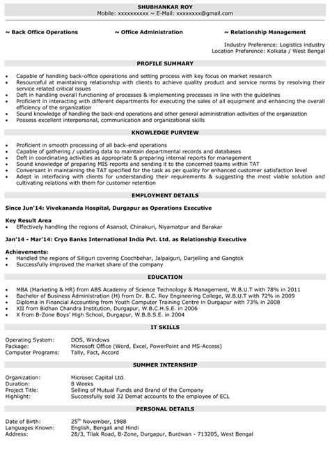 Naukri Sle Resumes by Operations Executive Operations Manager Resume Sles Naukri
