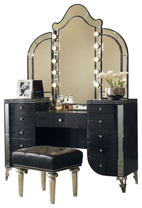 Makeup Vanity Table With Lights Canada by Swank Vanity With Mirror And Bench