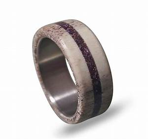 Deer Antler Wedding Band Antler Ring With Ametyst Inlay