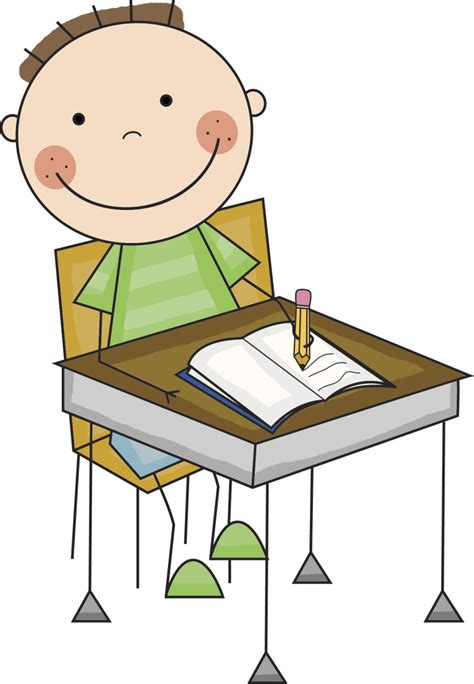 Student Sitting At Desk Clipart by Student Working Clipart Clipartion