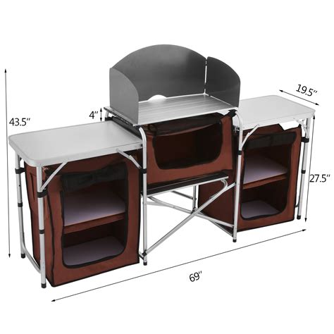 Folding Camping Kitchen Picnic Cabinet Cupboard Cooking