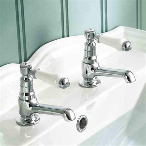 traditional twin single lever basin taps chrome bathroom