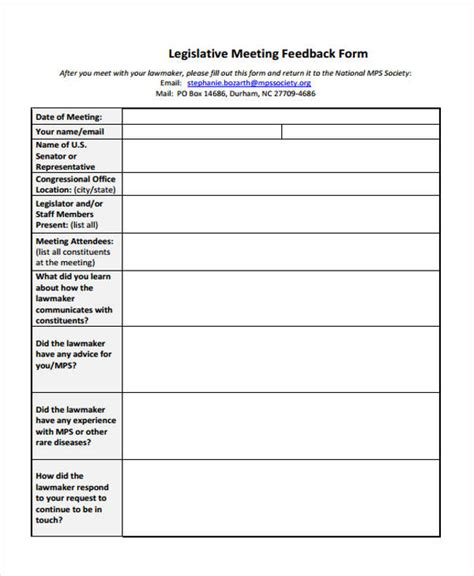 meeting feedback forms  samples examples formats