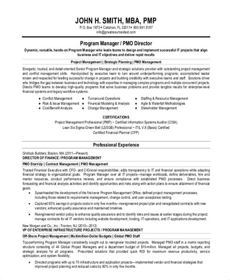 project management professional summary resume sle resume summary statement 9 exles in word pdf