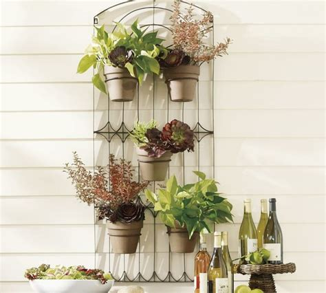 weathered metal wall planter traditional outdoor pots