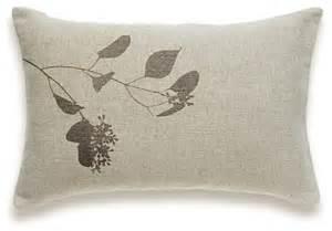 branch print decorative lumbar pillow cover natural linen