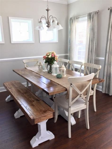 farmhouse table bench shanty  chic