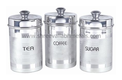 kitchen canister sets stainless steel silver touch tea coffee sugar set