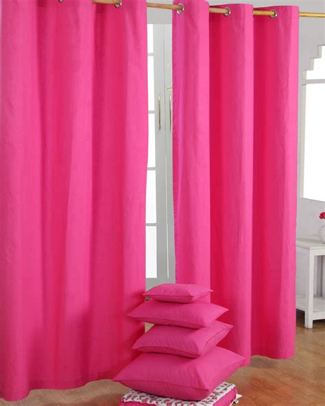 cotton plain pink ready made eyelet curtain pair