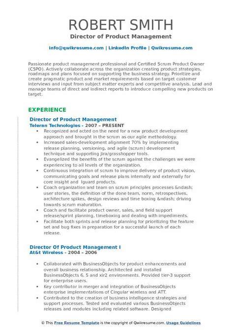 director  product management resume samples qwikresume