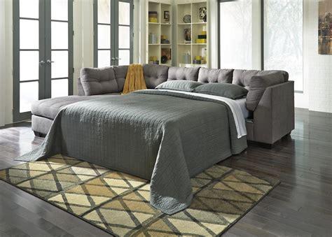grey sectional sleeper sofa benchcraft by ashley maier 4520016 4520083 grey fabric